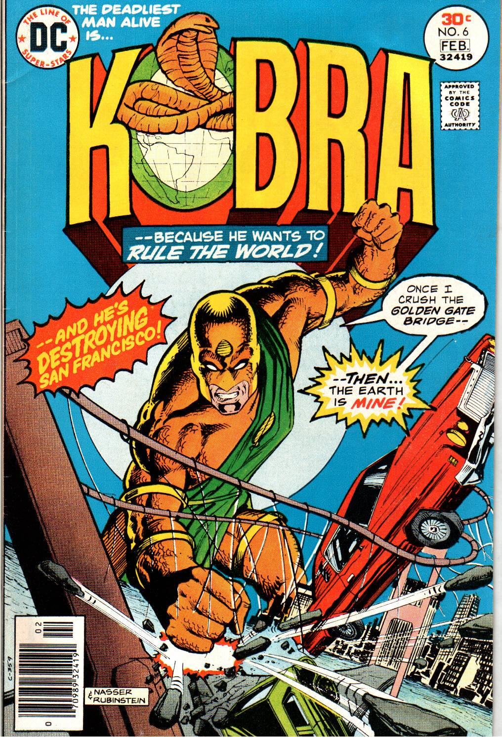 Kobra (1976) #6, cover penciled by Mike Nasser & inked by Joe Rubinstein.