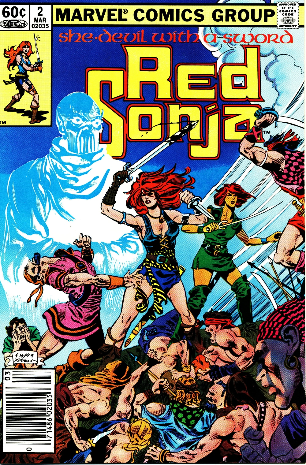 Red Sonja (1983) #2, cover penciled by Dave Simons & inked by Steve Mitchell.