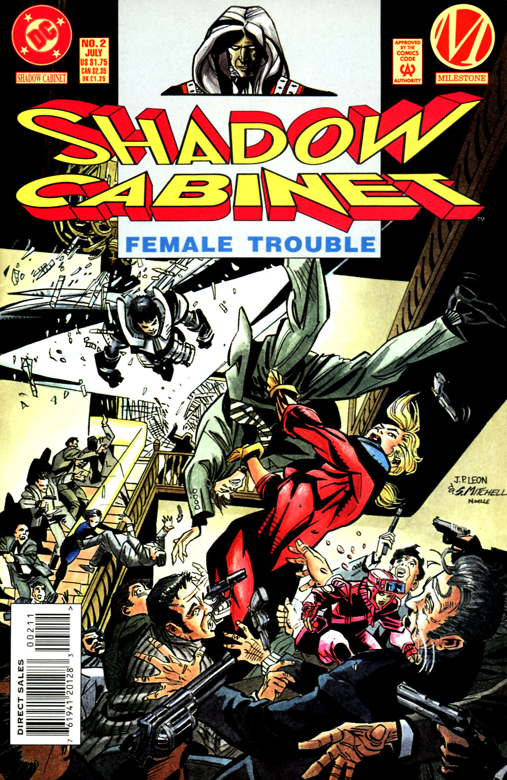 Shadow Cabinet (1994) #2, cover penciled by John Paul Leon & inked by Steve Mitchell.