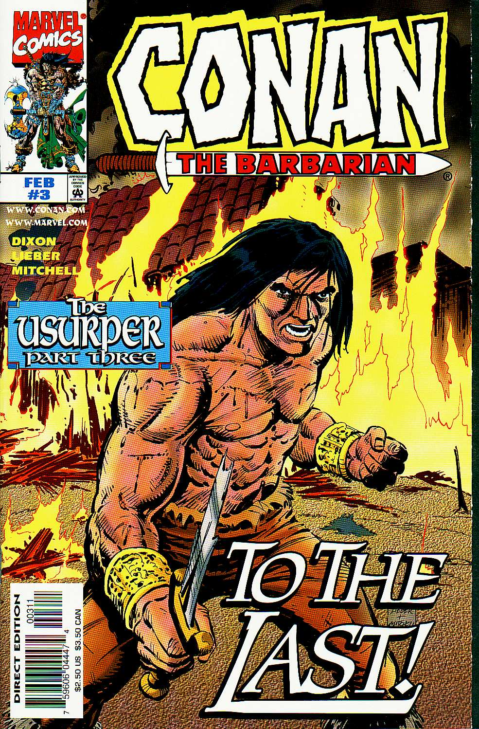 Conan the Barbarian: The Usurper (1997) #3, cover penciled by Steve Lieber & inked by Steve Mitchell.