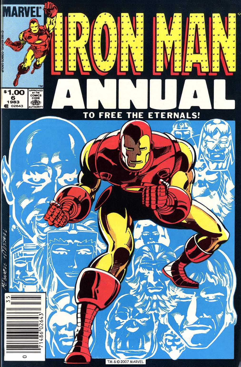 Iron Man Annual (1970) #6, cover penciled by Luke McDonnell & inked by Steve Mitchell.
