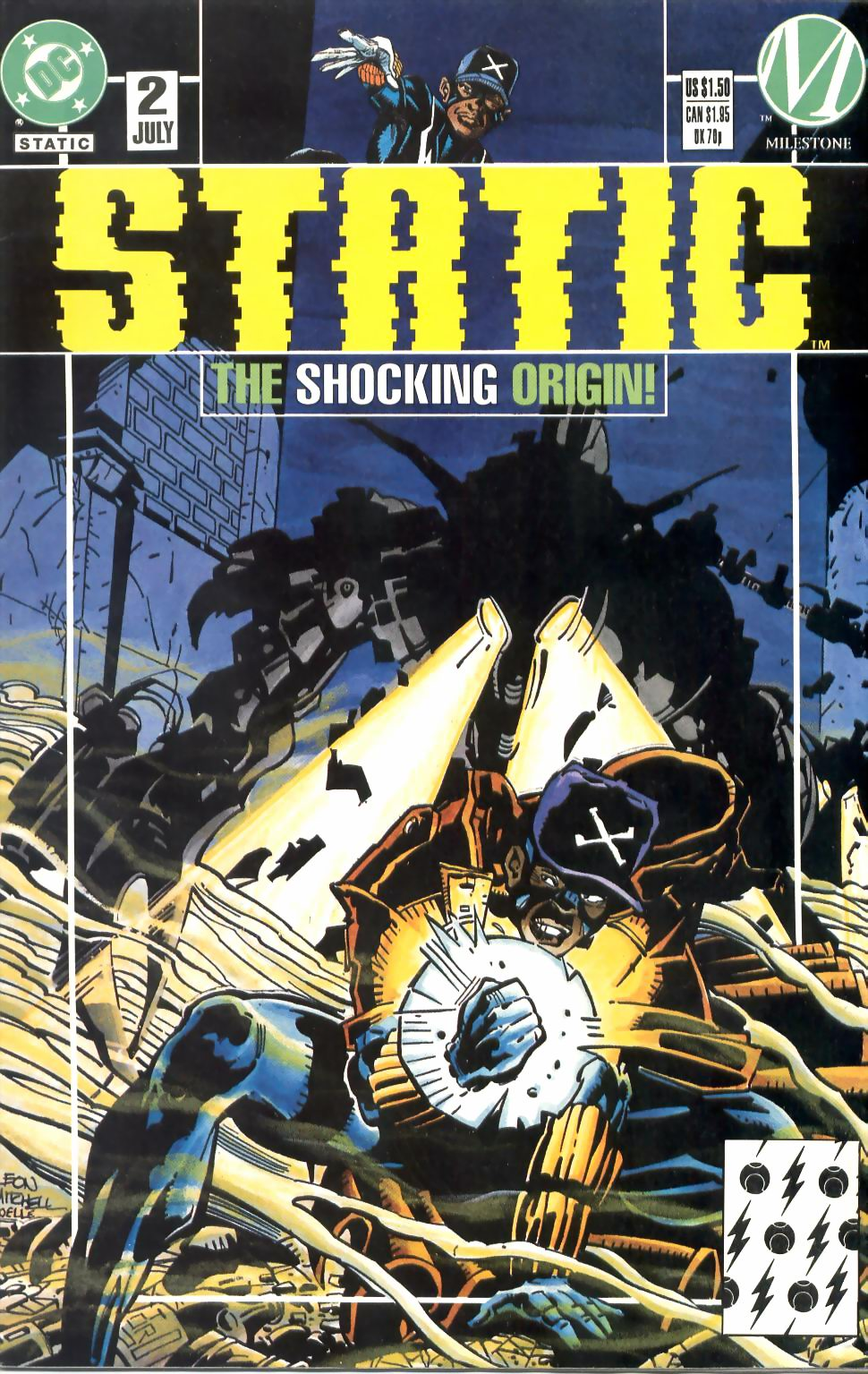 Static (1993) #2, cover penciled by John Paul Leon & inked by Steve Mitchell.