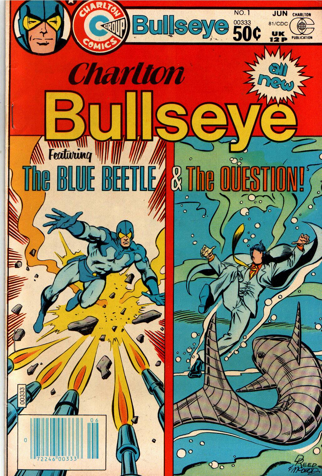 Charlton Bullseye (1981) #1, cover penciled by Dan Reed & inked by Bob McLeod.