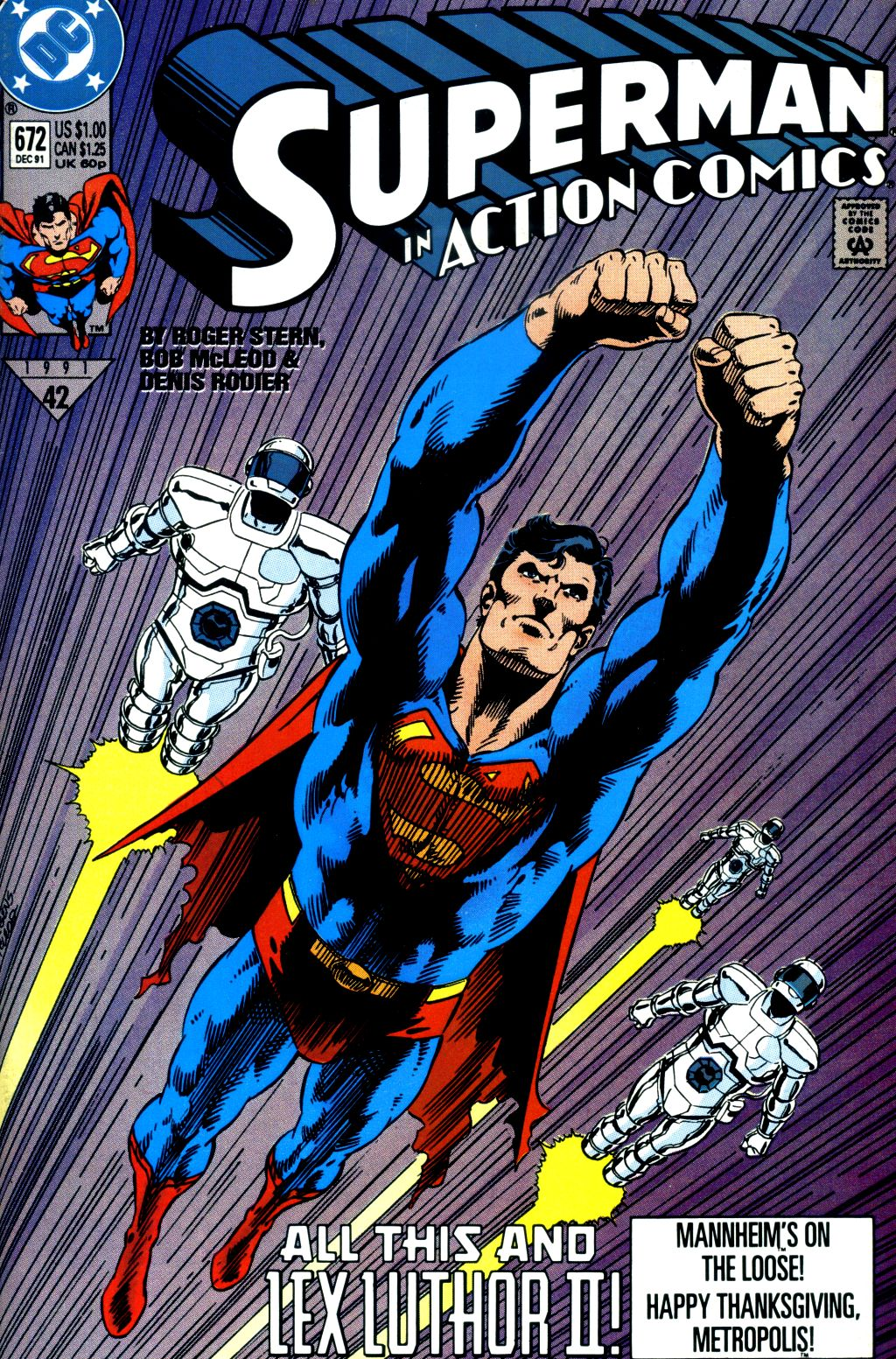 Action Comics (1938) #672, cover penciled by Dan Jurgens & inked by Bob McLeod.
