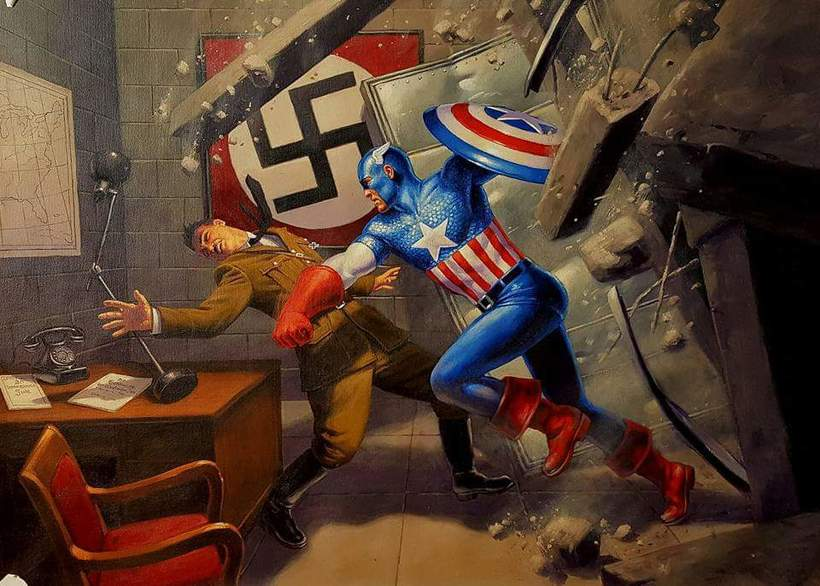 Captain America Vs. Hitler - by Greg Hildebrandt.