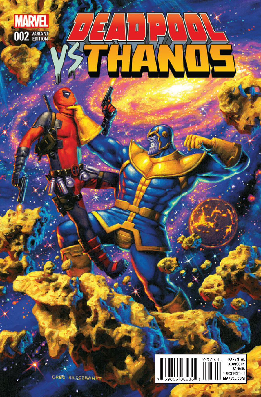 Deadpool Vs. Thanos (2015) #2, cover by Greg Hildebrandt.