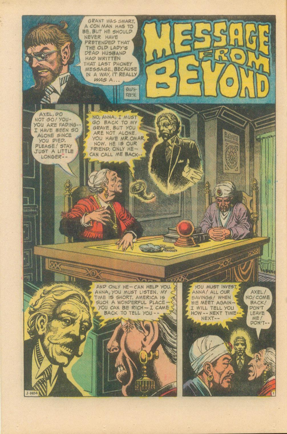 """House of Mystery (1951) #223, """"Message From Beyond"""" written by Jack Oleck with art by Ralph Reese."""