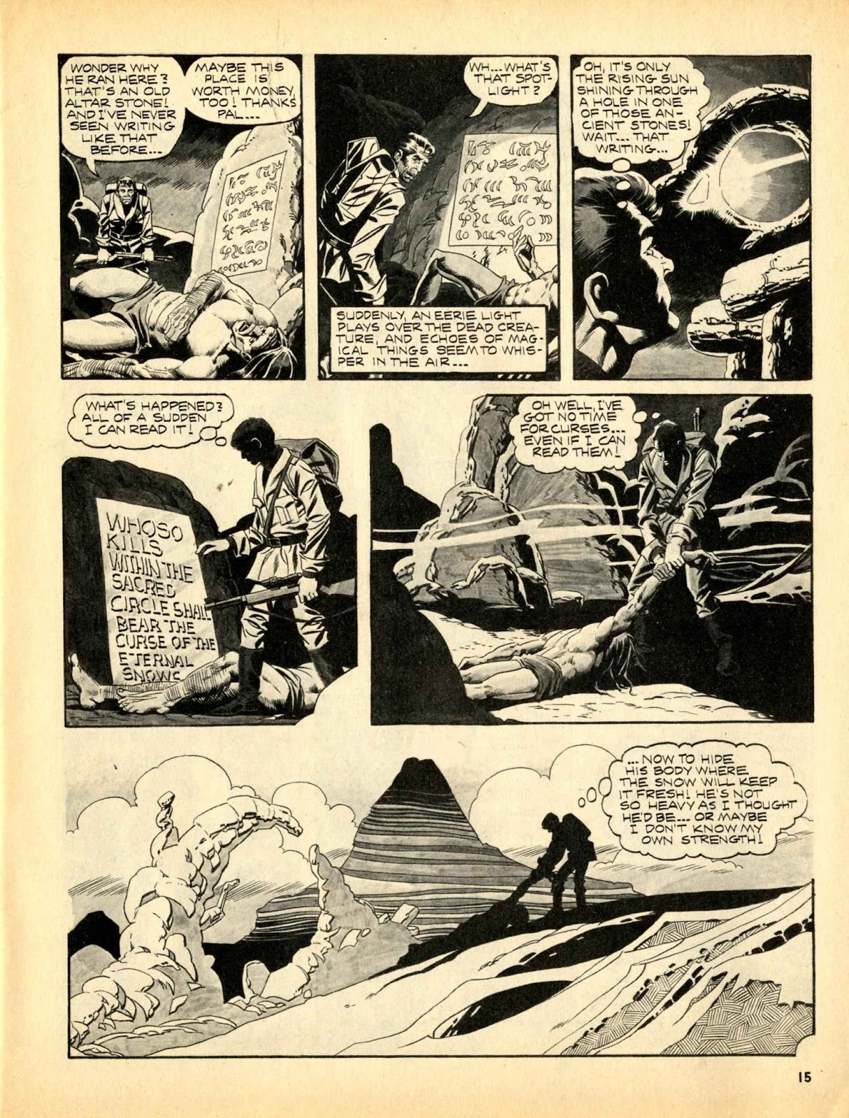 Web of Horror (1969) #3 pg15, written by Otto Binder with art from Ralph Reese.