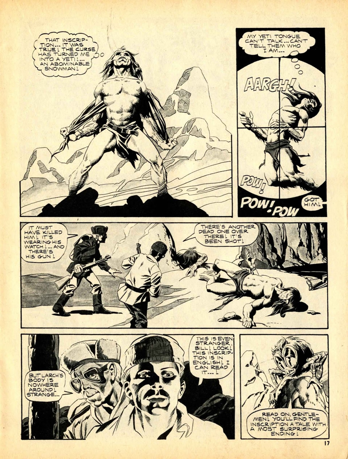 Web of Horror (1969) #3 pg17, written by Otto Binder with art from Ralph Reese.
