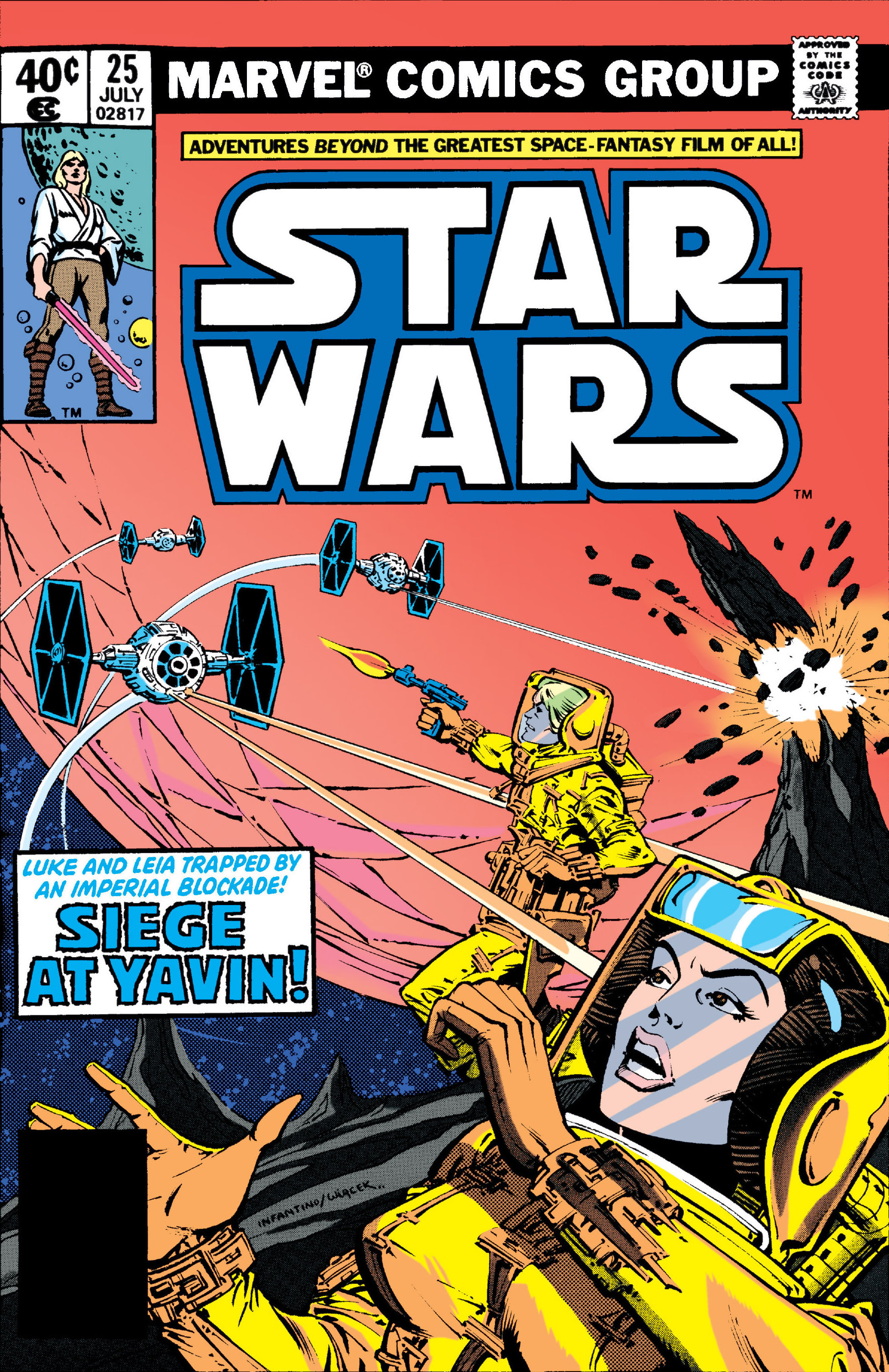 Star Wars (1977) #25, cover penciled by Carmine Infantino & inked by Bob Wiacek.