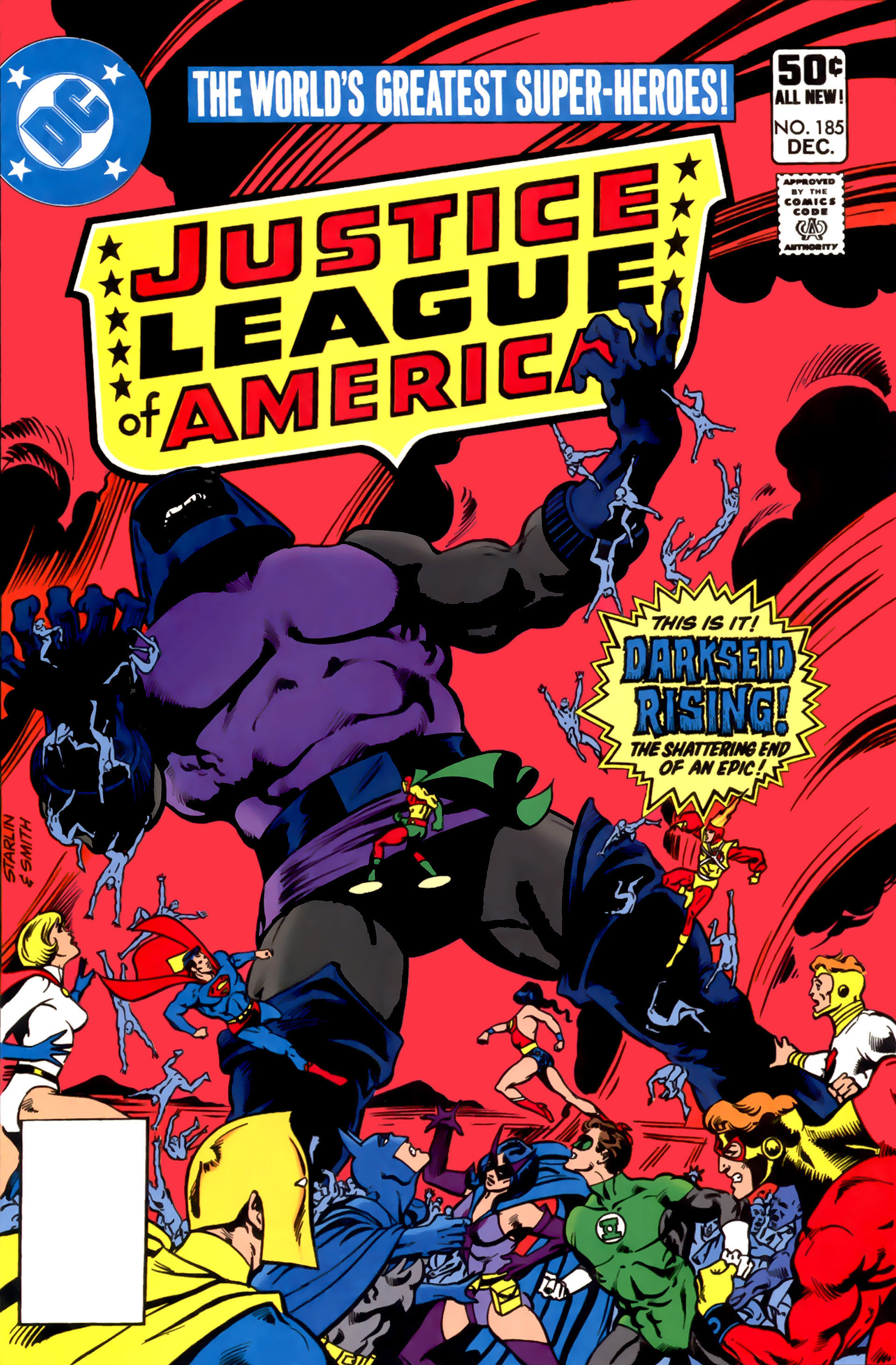 Justice League of America (1960) #185, cover penciled by Jim Starlin & inked by Bob Smith.