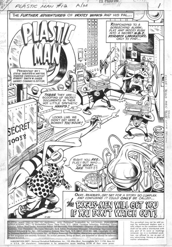 Plastic Man (1966) #12 pg1 original, penciled by Ramona Fradon & inked by Bob Smith.