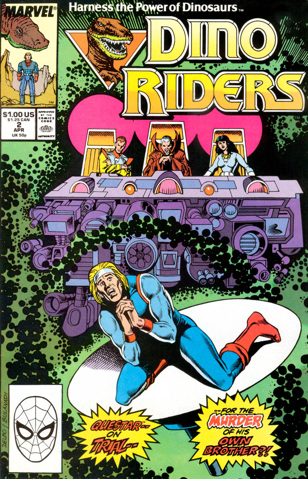 Dino Riders (1989) #2, cover penciled by Jose Delbo & inked by Danny Bulanadi.