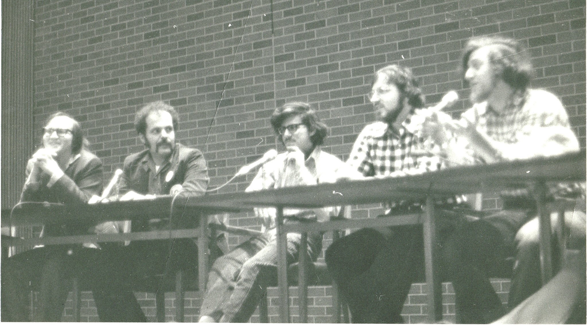 Joe Staton, Nicola Cuti, Paul Levitz, Marv Wolfman, Len Wein at a convention circa 1974.