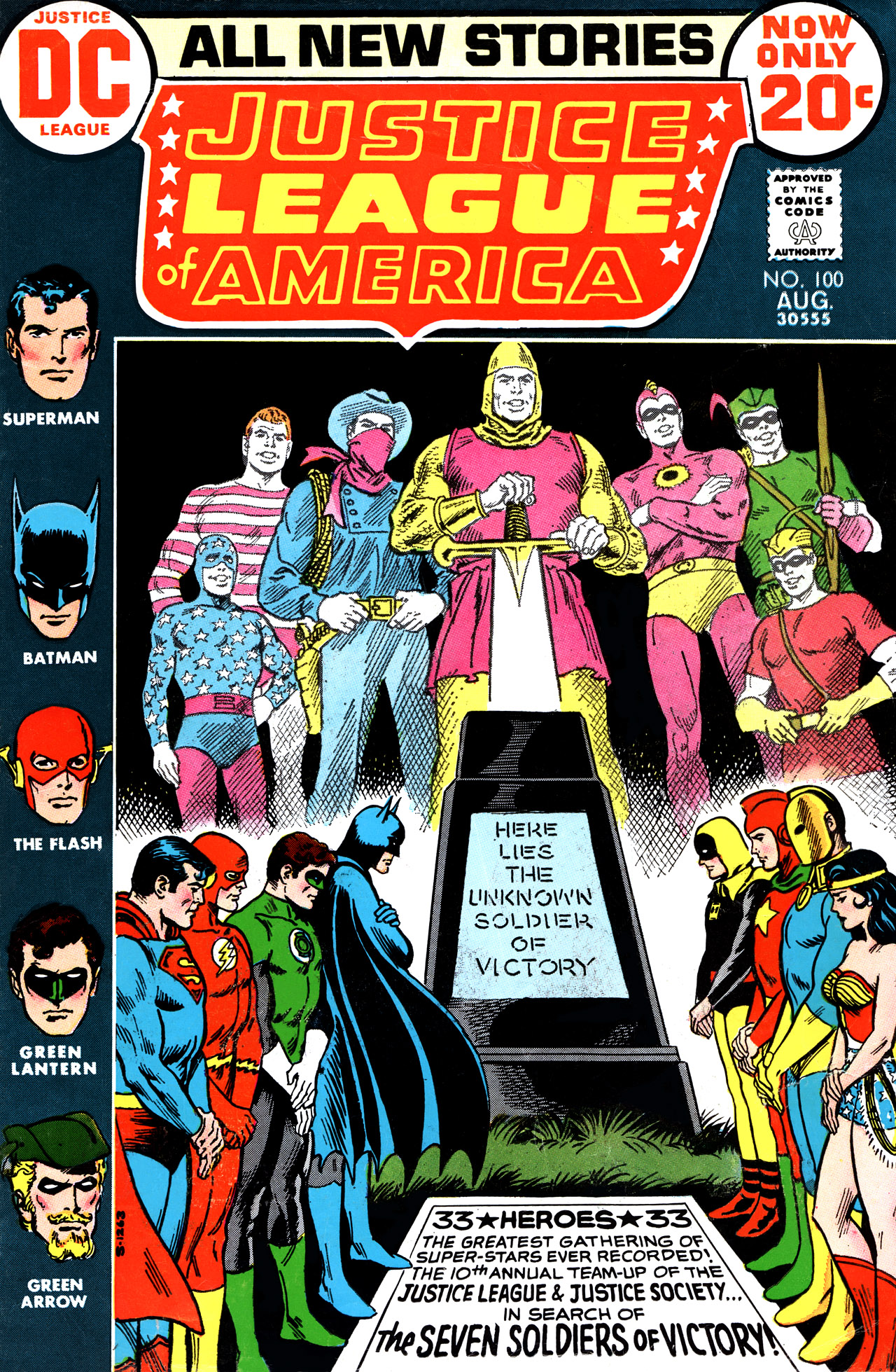 Justice League of America (1960) #100, cover by Nick Cardy.