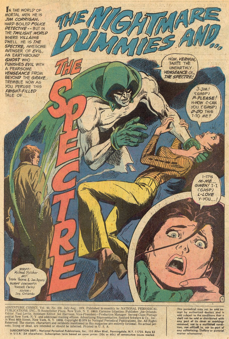 Adventure Comics (1938) #434 pg.1, art penciled by Frank Thorne and inked by Jim Aparo.