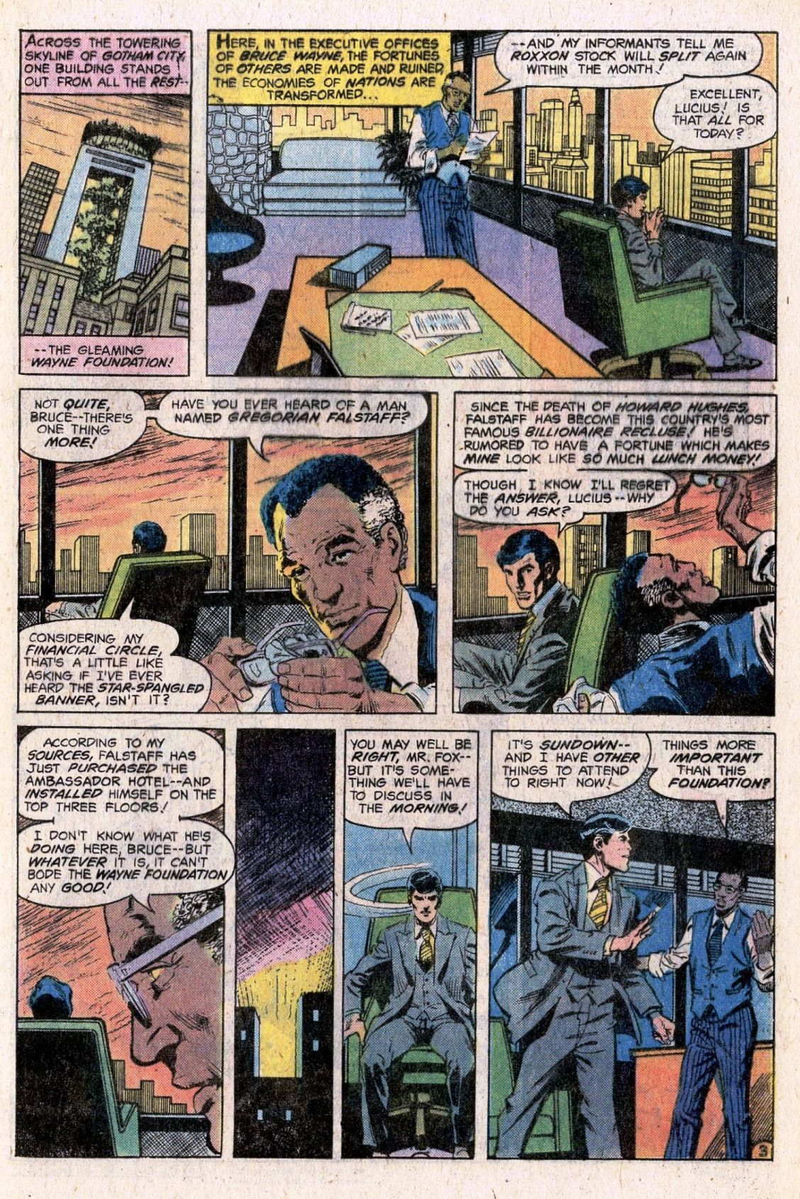 Batman (1940) #307 pg3, penciled by John Calnan & inked by Dick Giordano. The first appearance of  Lucius Fox .