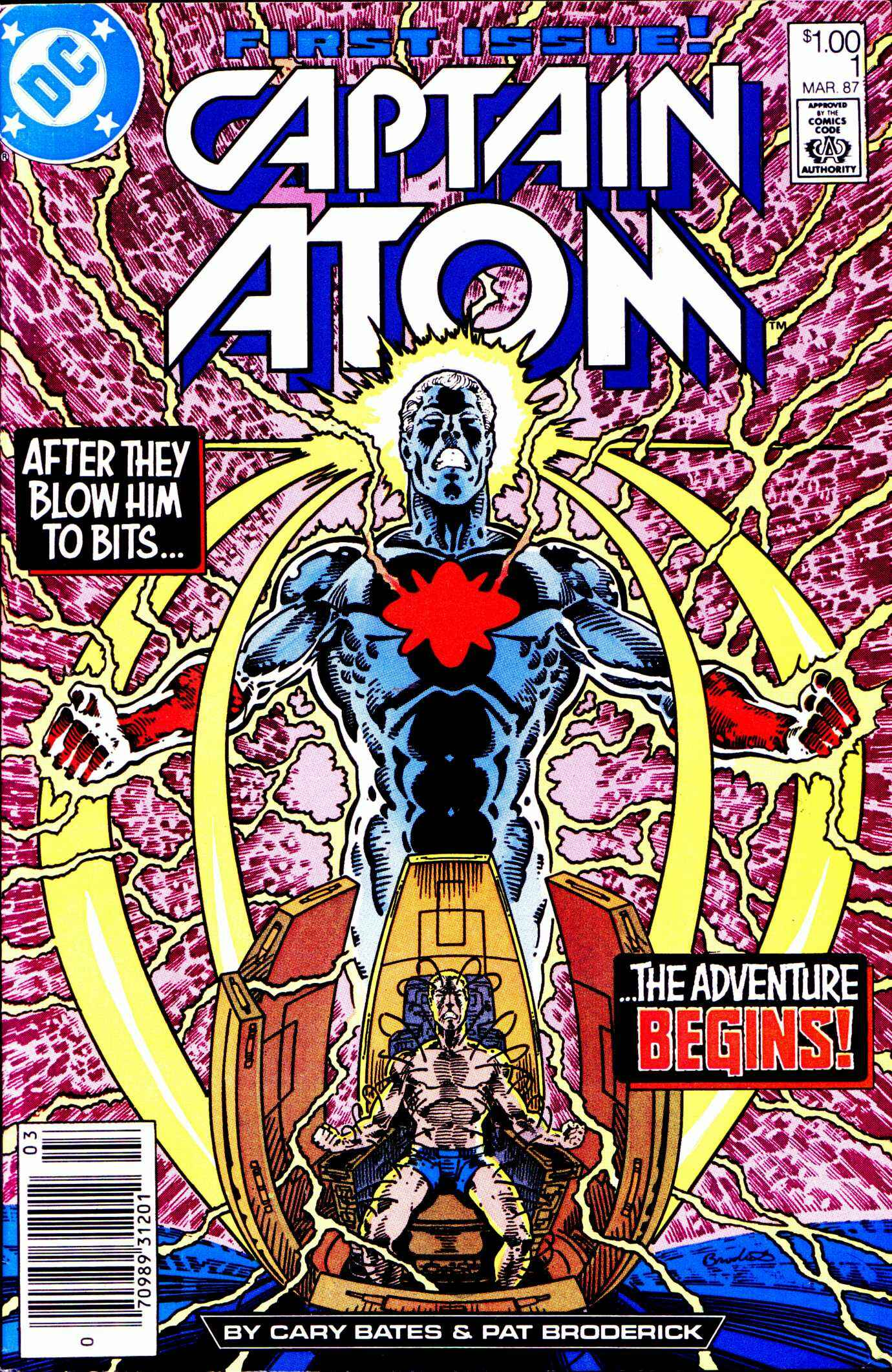 Captain Atom (1987) #1, written by Cary Bates. Cover by Pat Broderick.
