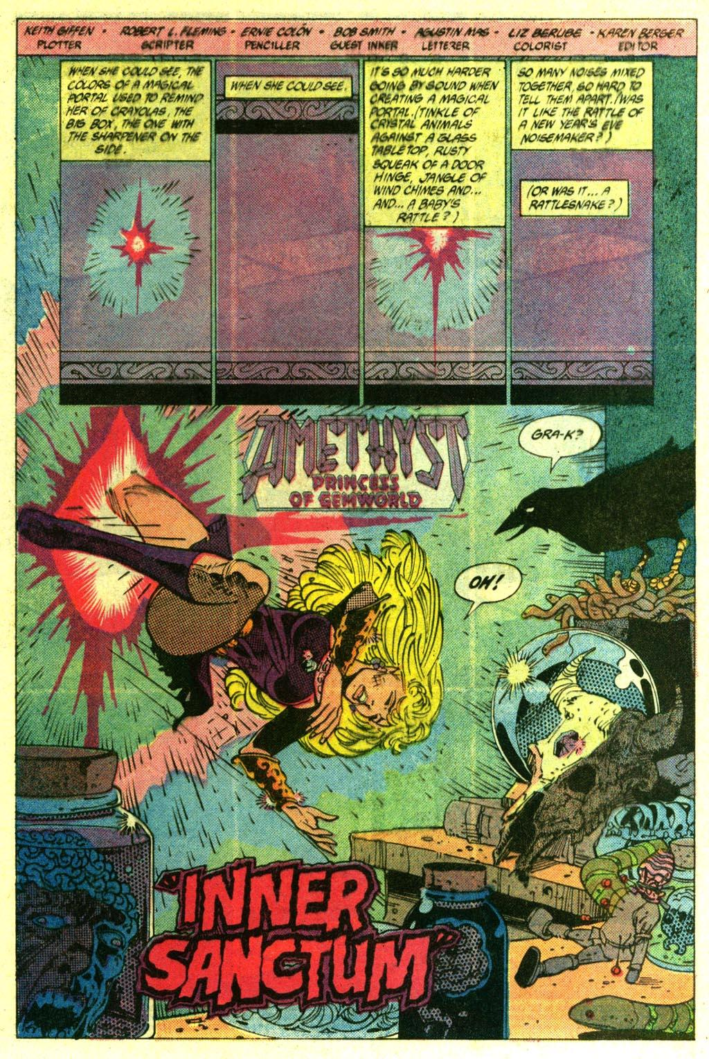 Amethyst (1985) #14 pg2, penciled by Ernie Colon, inked by Bob Smith, & colored by Liz Berube.