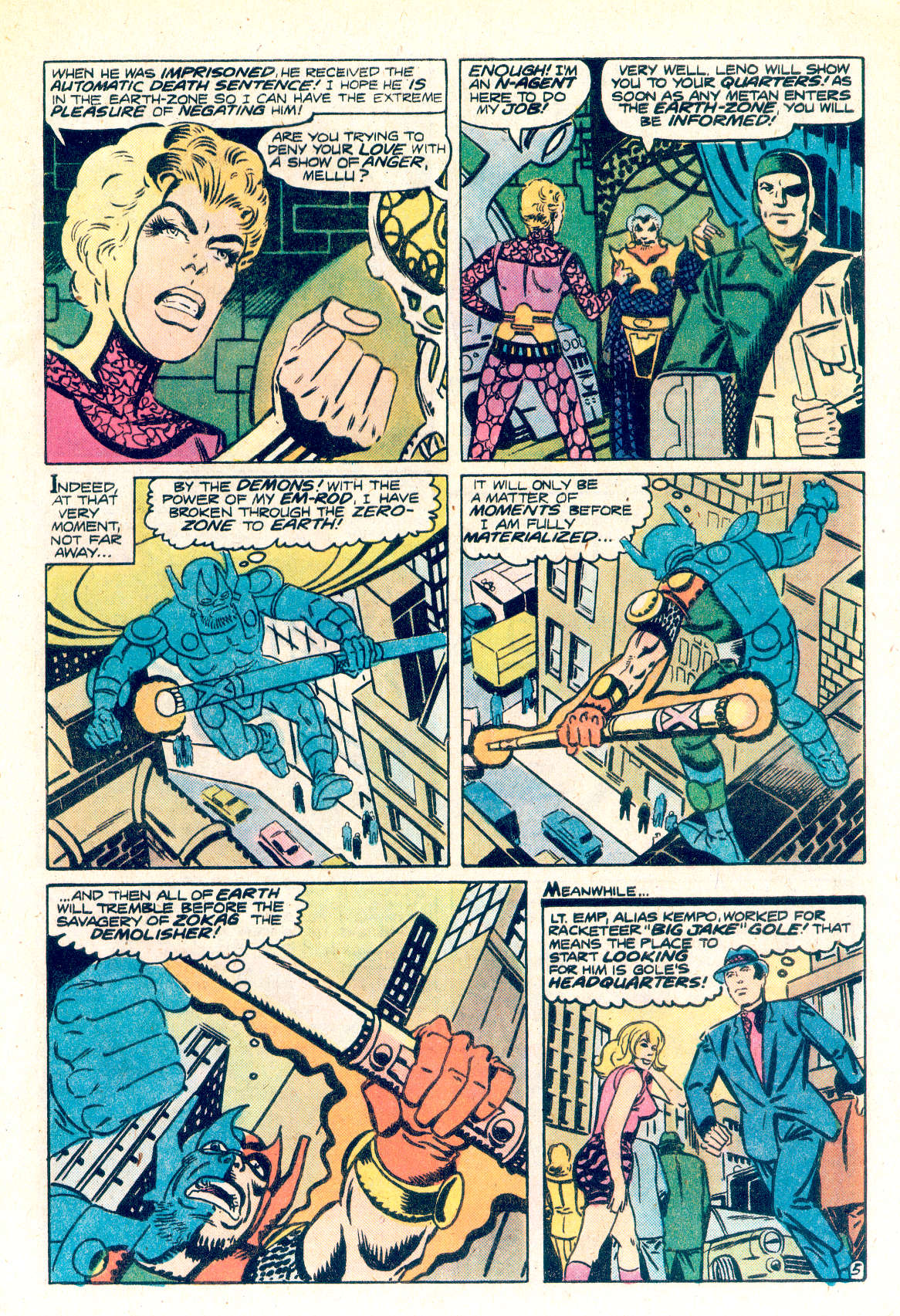 Shade the Changing Man (1977) #1 pg5, drawn by Steve Ditko & colored by Liz Berube.