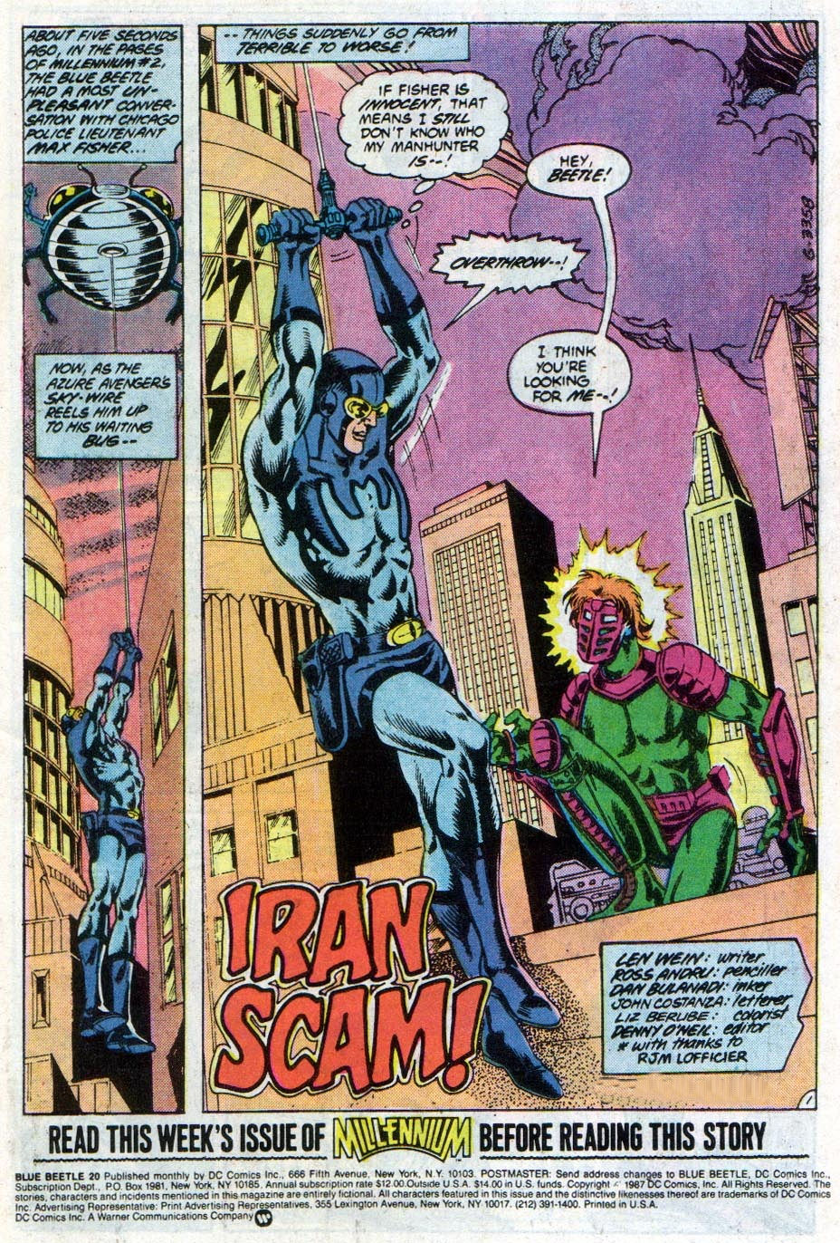Blue Beetle (1986) #20 pg1, penciled by Ross Andru, inked by Dan Bulanadi, & colored by Liz Berube.