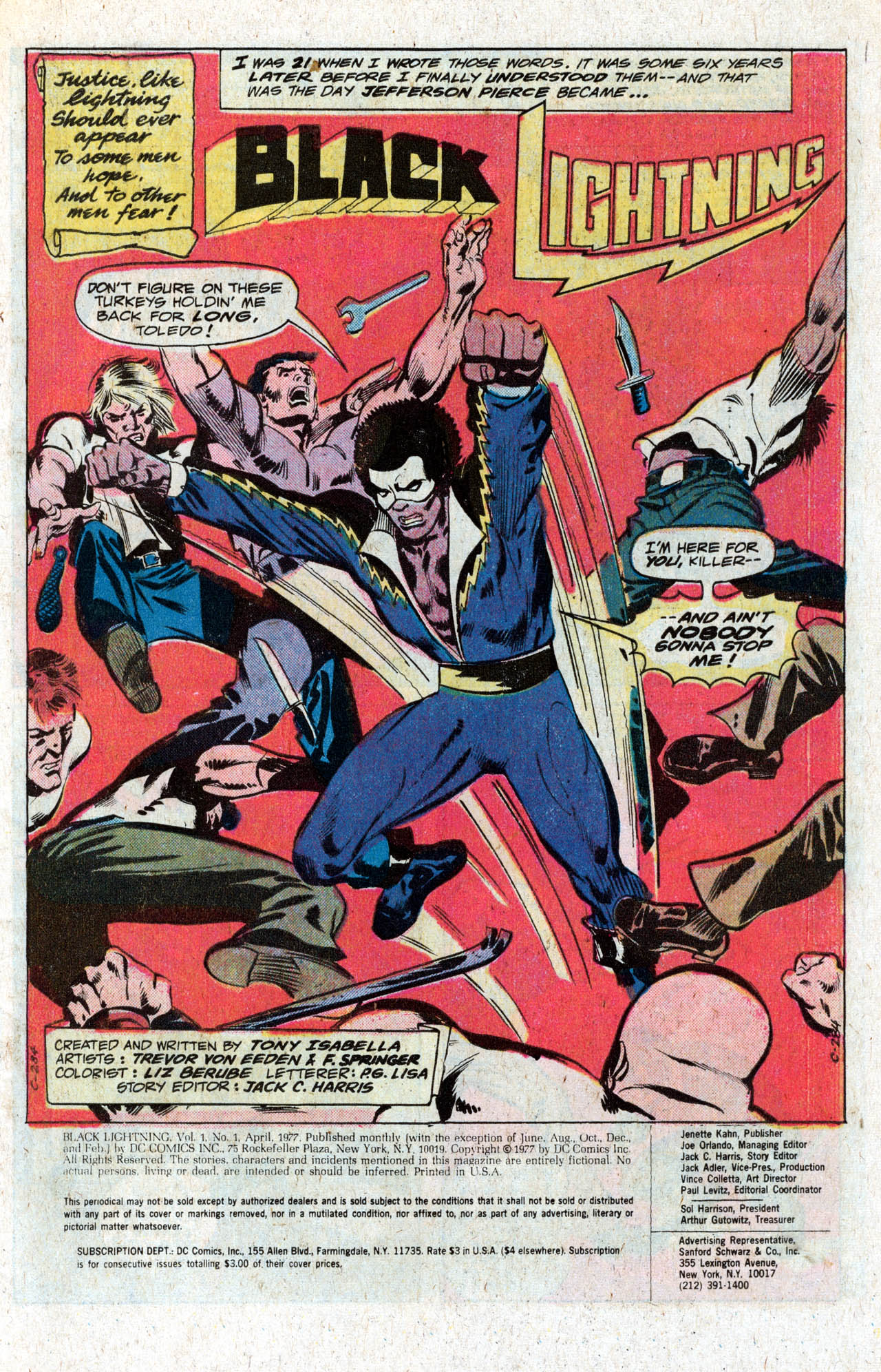 Black Lightning (1977) #1 pg1, penciled by Trevor Von Eedon, inked by Frank Springer, & colored by Liz Berube.