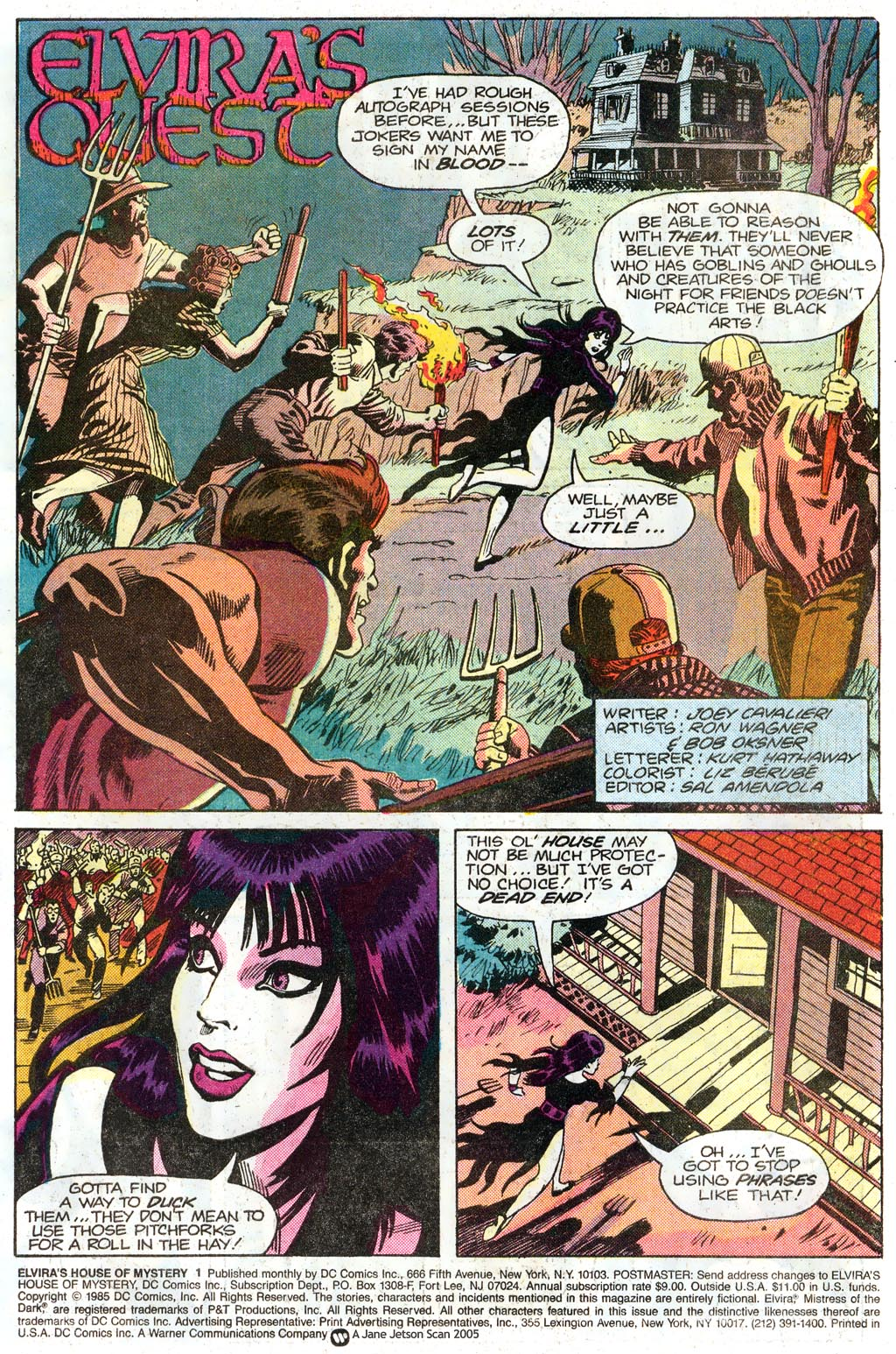 Elvira's House of Mystery (1985) #1 pg1, penciled by Ron Wagner, inked by Bob Oksner, & colored by Liz Berube.