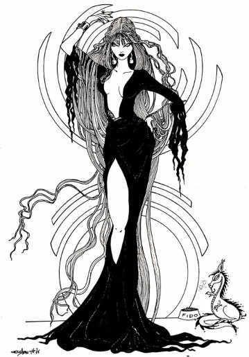 Elvira Pin-Up by Liz Berube.