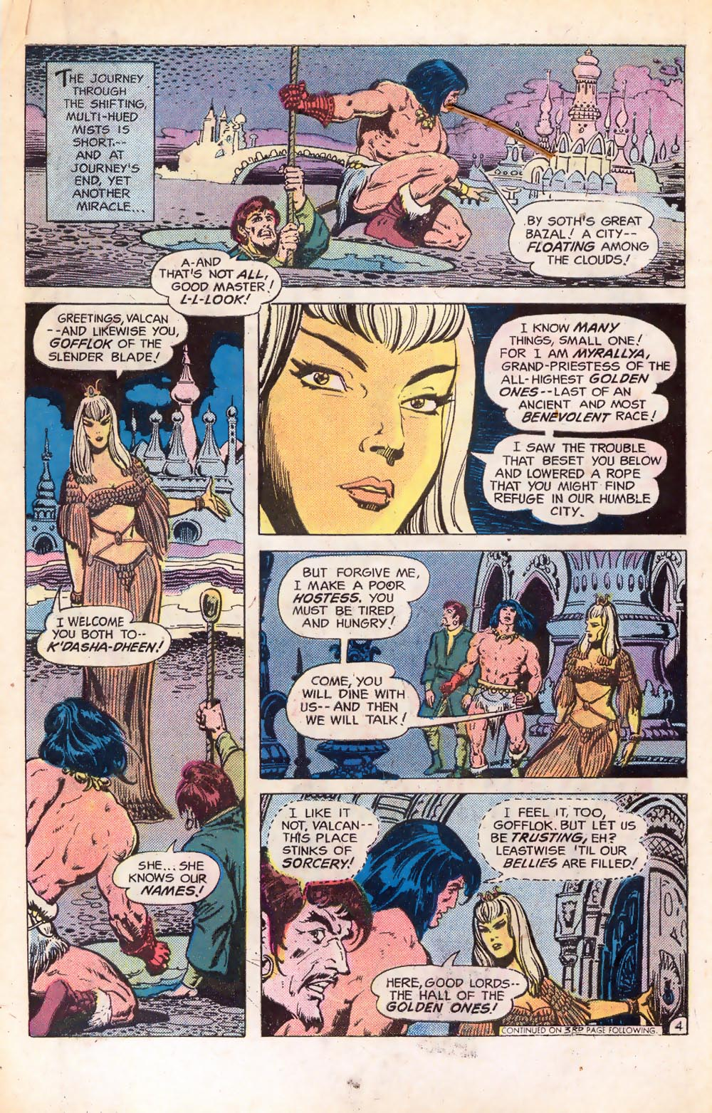 Claw the Unconquered (1975) #2 pg4, drawn by Ernie Chua & colored by Liz Berube.