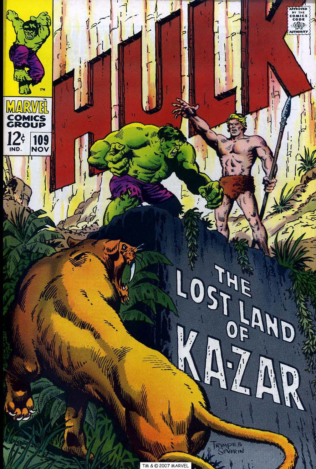 The Incredible Hulk (1968) #109, cover penciled by Herb Trimpe & inked by John Severin.