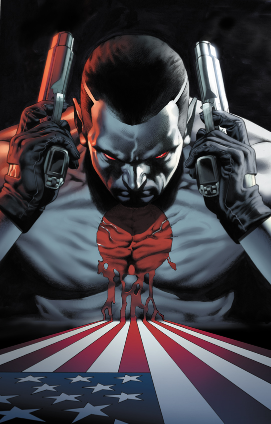 Bloodshot  from Valiant Comics is slated to make his big-screen debut in 2020, launching a new Valiant Cinematic Universe. (art by Arturo Lozzi)