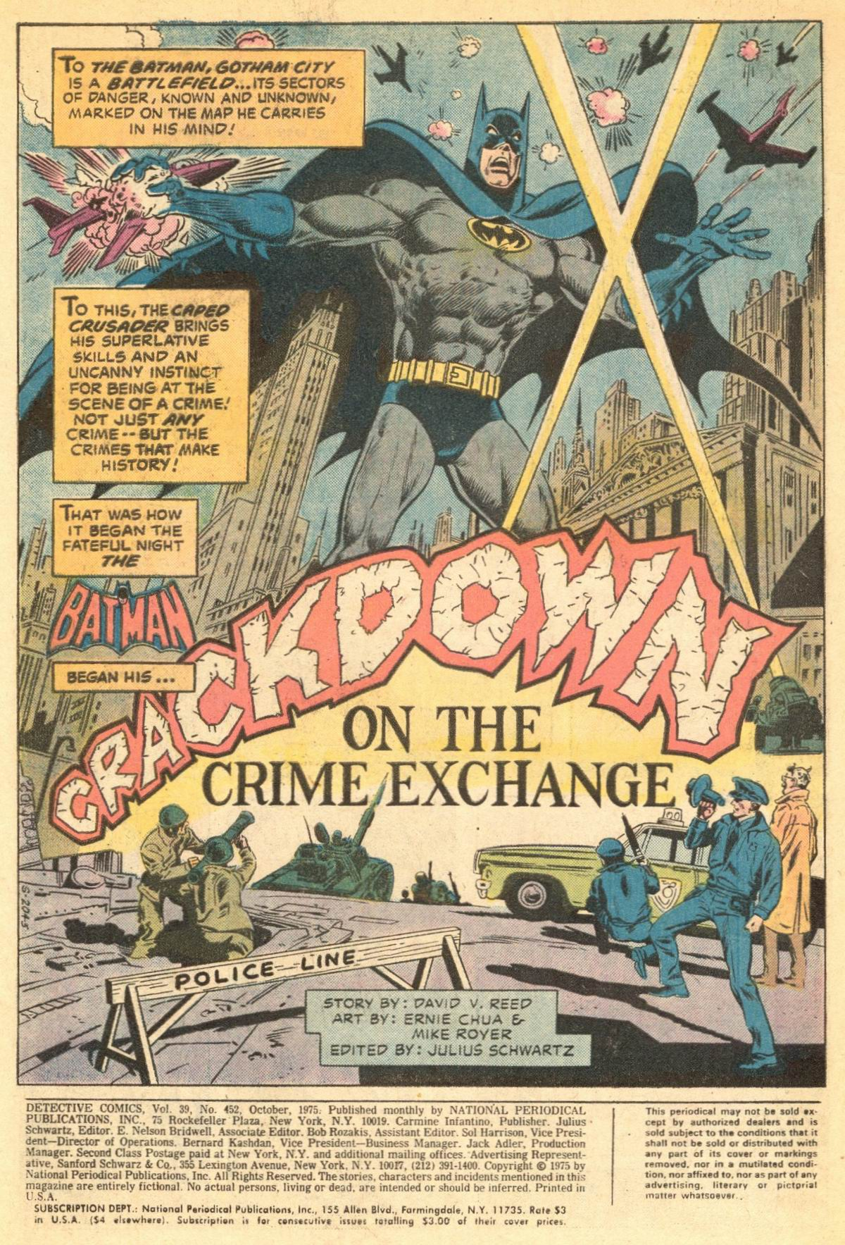Detective Comics (1937) #452 pg1, penciled by Ernie Chua & inked by Mike Royer.