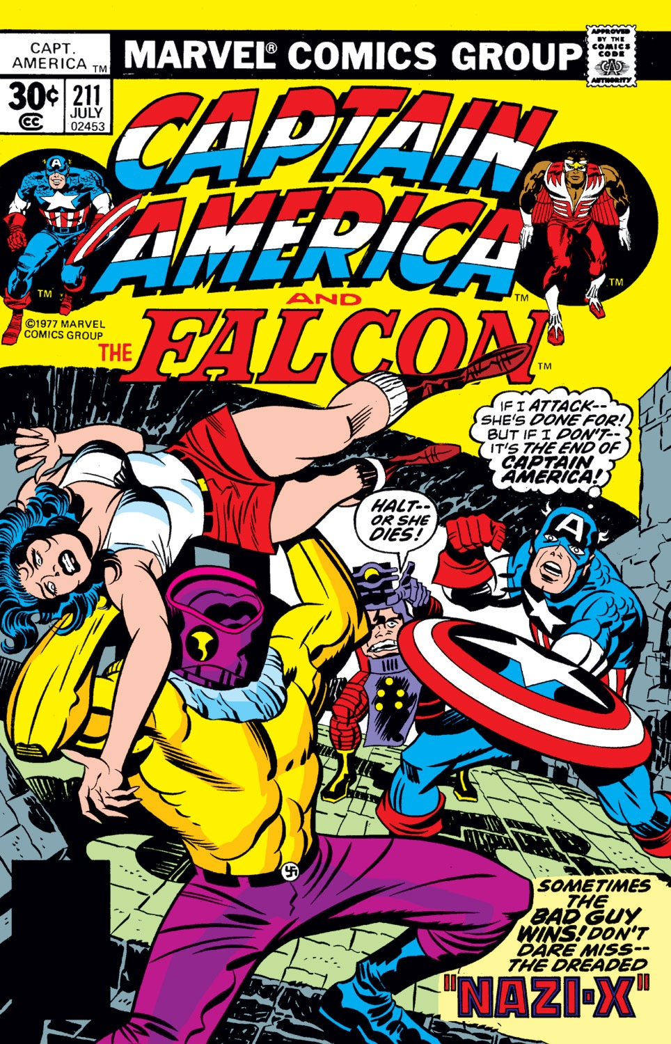 Captain America (1968) #211, cover penciled by Jack Kirby & inked by Mike Royer.