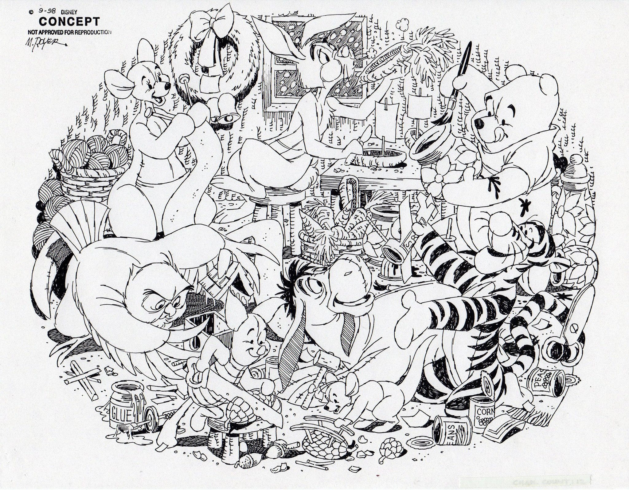 Disney Store Concept art from September 1998, drawn by Mike Royer.