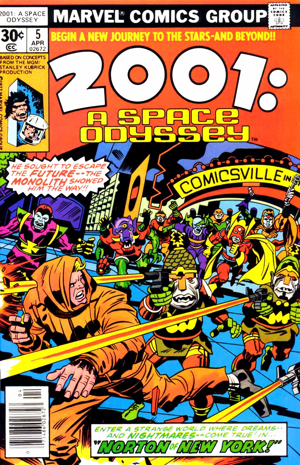 2001: A Space Odyssey (1976) #5, cover penciled by Jack Kirby & inked by Mike Royer.