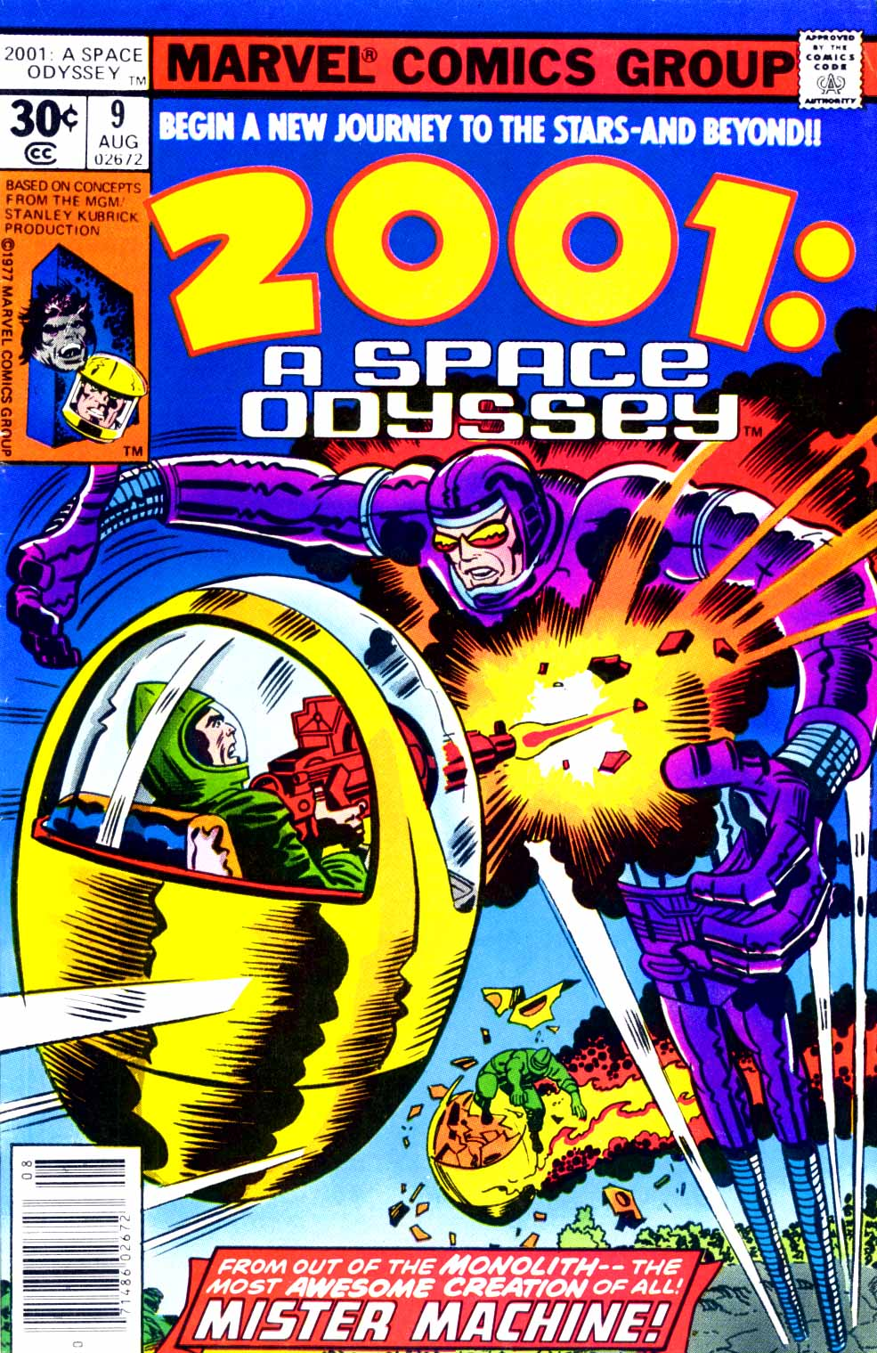 2001: A Space Odyssey (1976) #9, cover penciled by Jack Kirby & inked by Mike Royer.