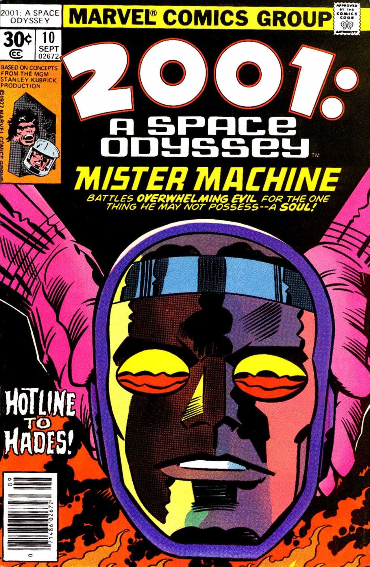 2001: A Space Odyssey (1976) #10, cover penciled by Jack Kirby & inked by Mike Royer.