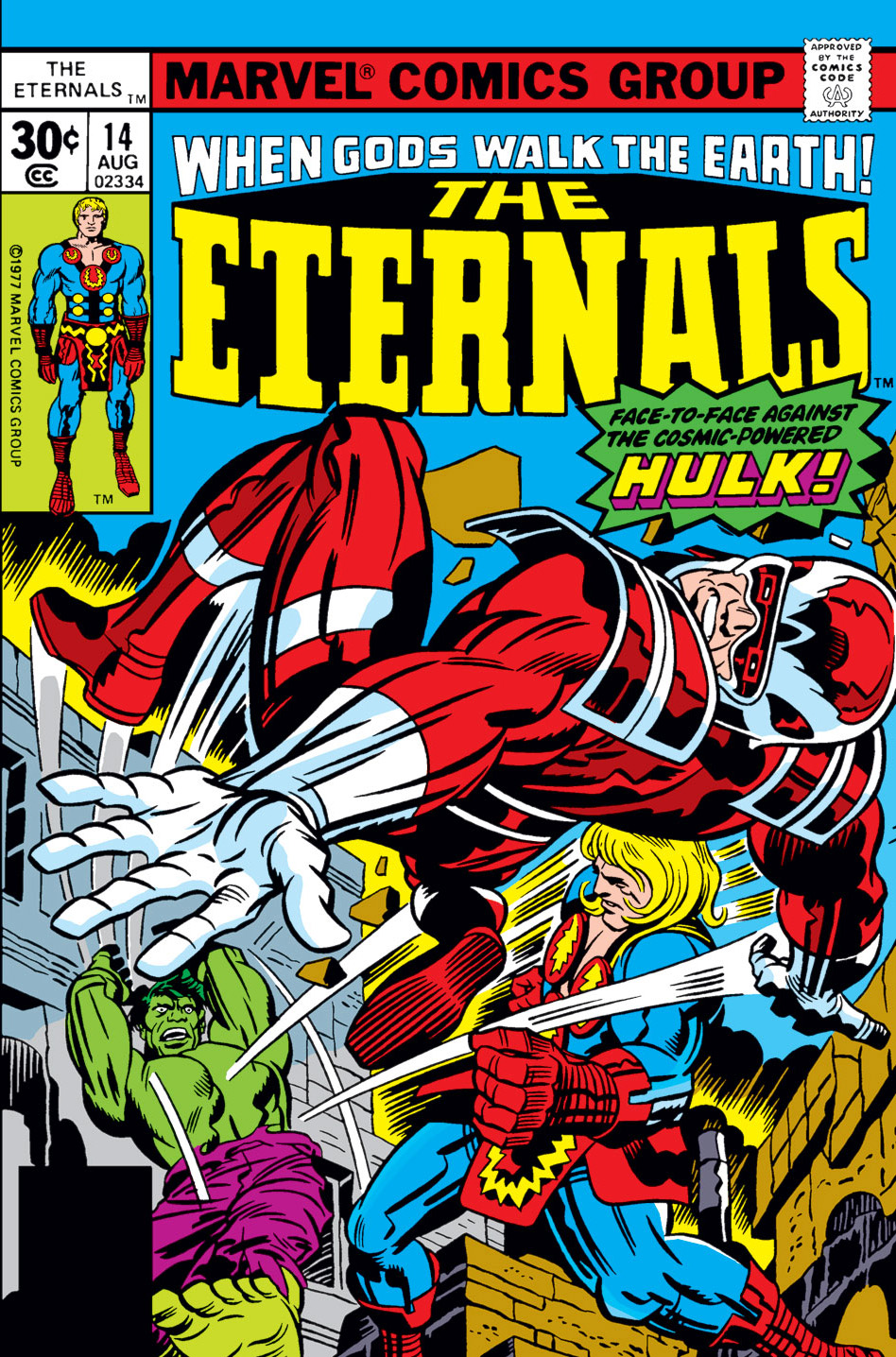 The Eternals (1976) #14, cover penciled by Jack Kirby & inked by Mike Royer.