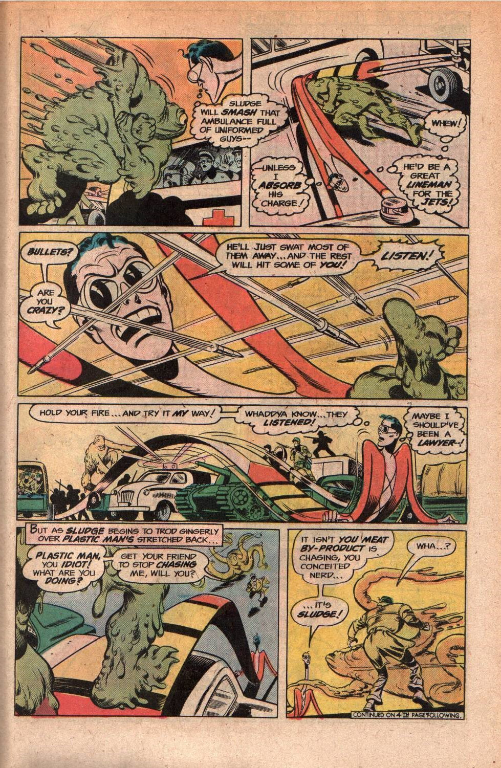 Plastic Man (1966) #14 pg19, penciled by Ramona Fradon & inked by Mike Royer.