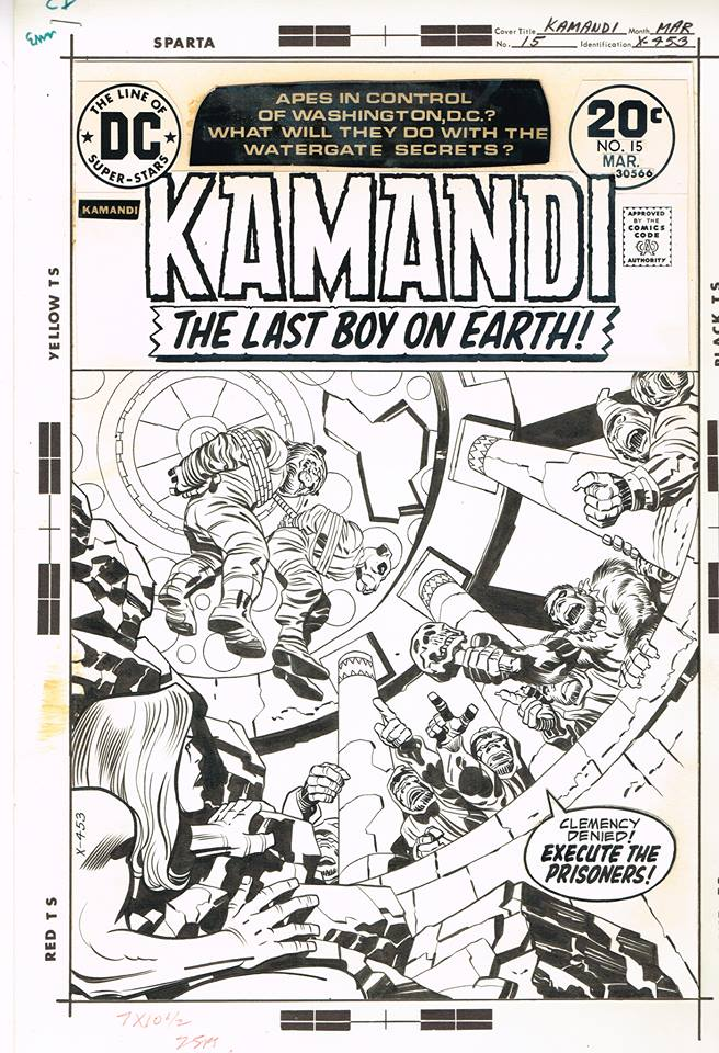 Kamandi (1972) #15, original cover art penciled by Jack Kirby & inked by Mike Royer.