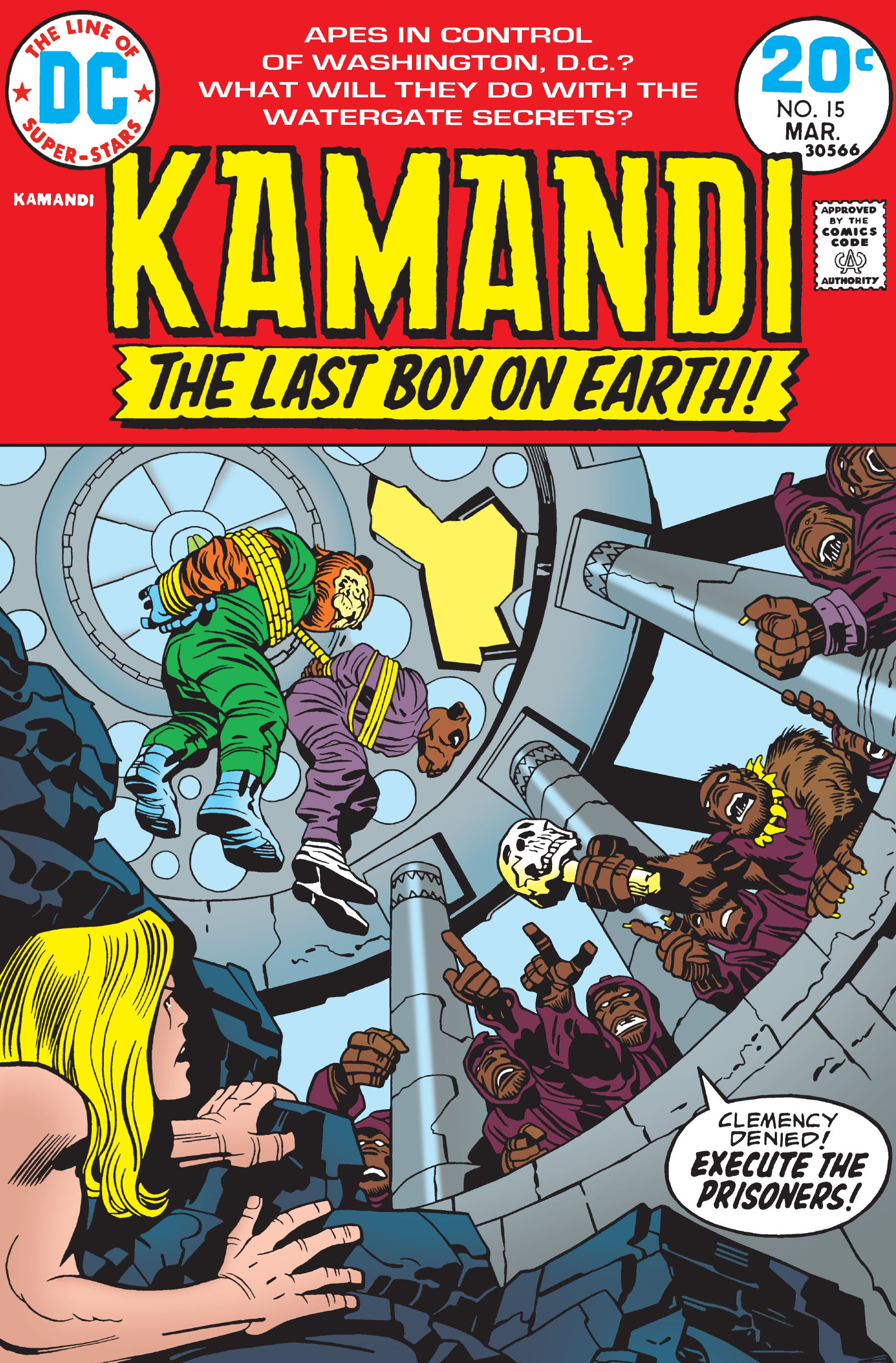 Kamandi (1972) #15, cover penciled by Jack Kirby & inked by Mike Royer.