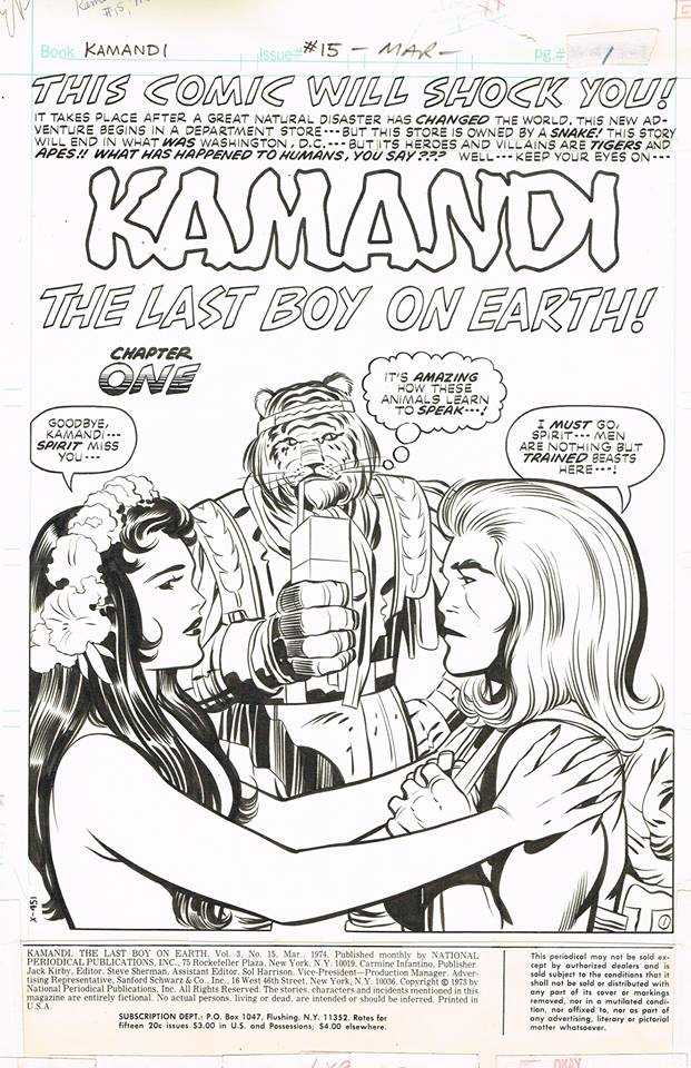 Kamandi (1972) #15 Pg1, penciled by Jack Kirby & inked by Mike Royer.