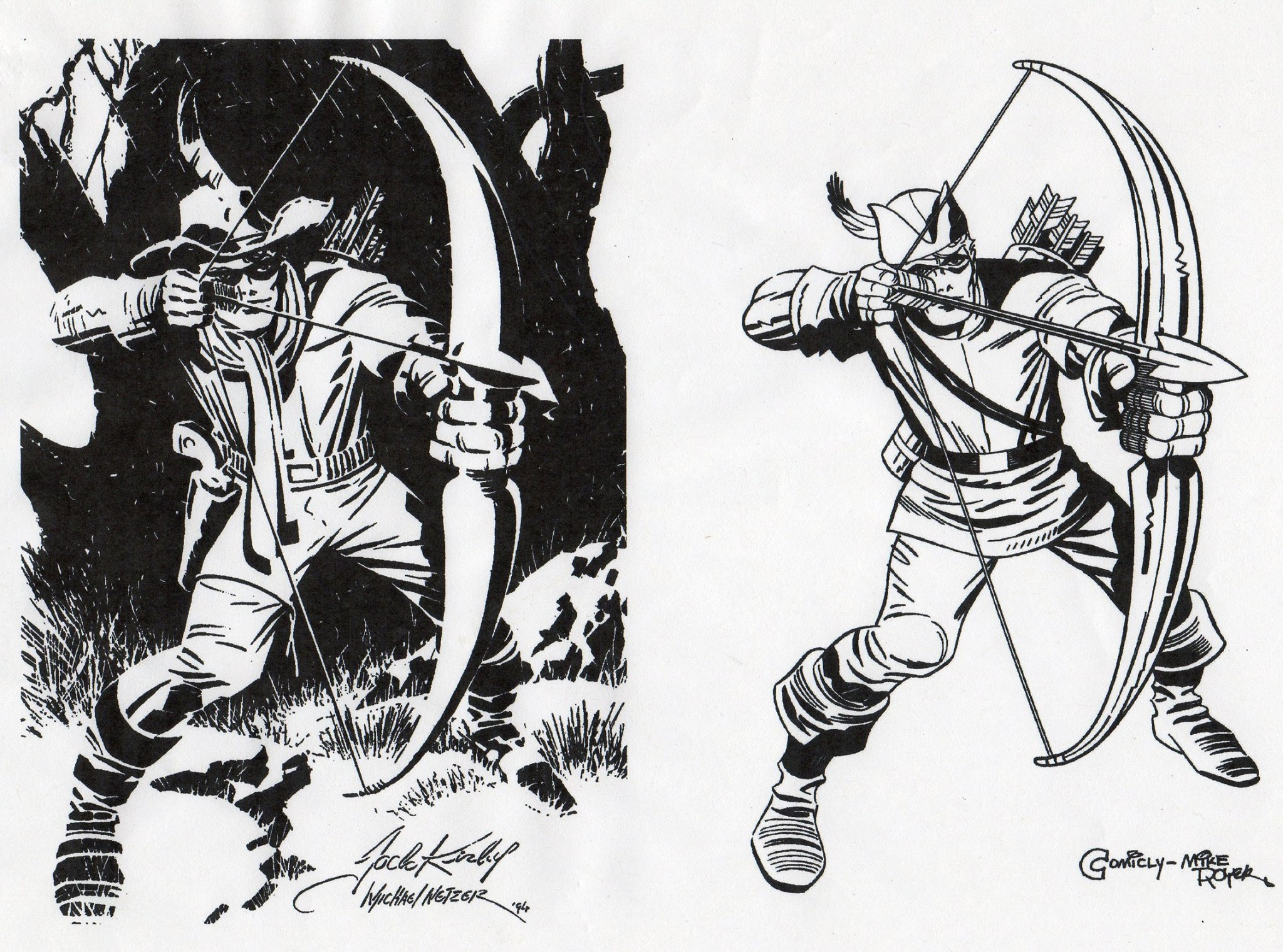 Bullseye by Jack Kirby next to Green Arrow by Mike Royer.