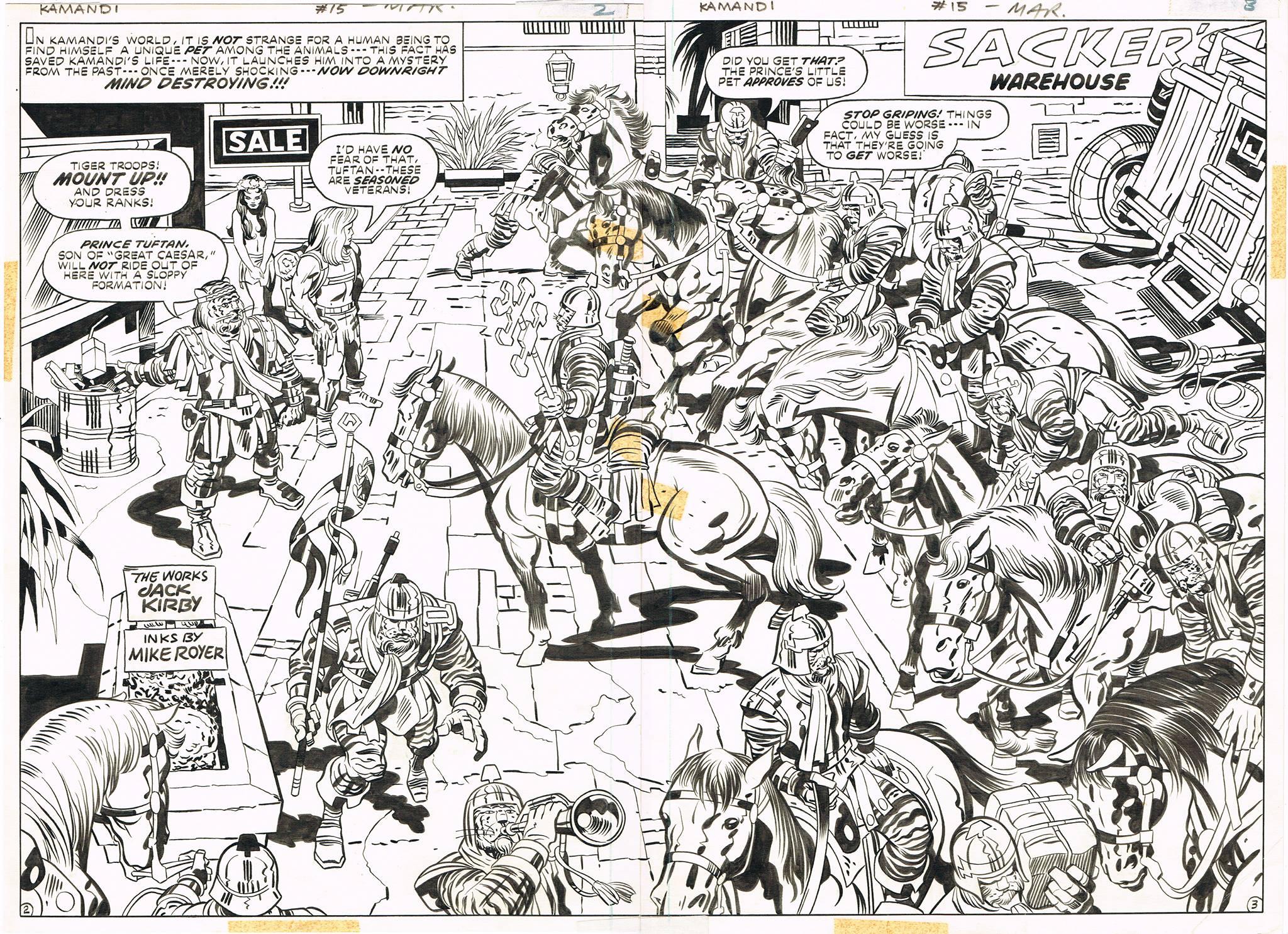 Kamandi (1972) #15 Pg2-3, original art penciled by Jack Kirby & inked by Mike Royer.
