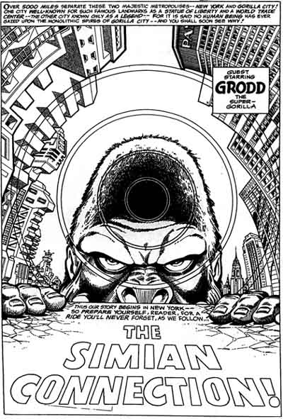 An unpublished page from  Grodd of Gorilla City , penciled by Joe Barney & inked by Terry Austin.