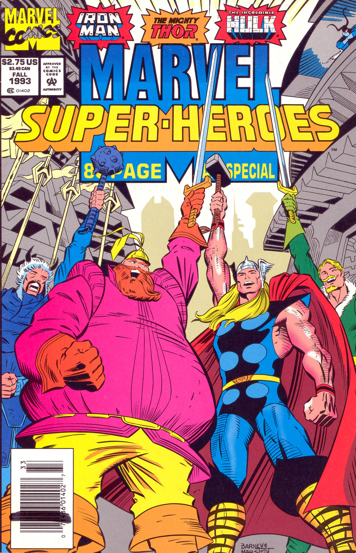 Marvel Super Heroes (1990) #15, cover penciled by Joe Barney & inked by Larry Mahlstedt.
