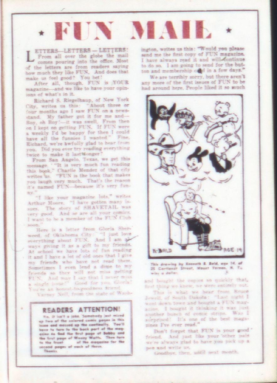 More Fun Comics #9 pg17, featuring fan art from a young Ken Bald.
