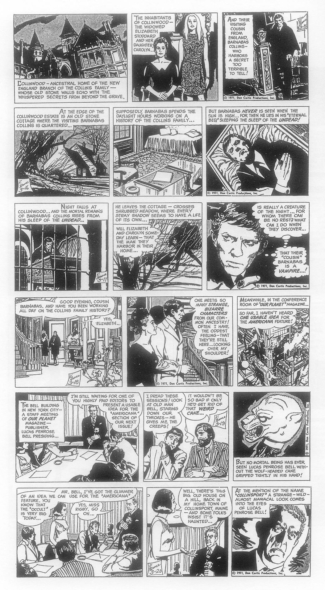The first week of Dark Shadows strips, with art from Ken Bald.