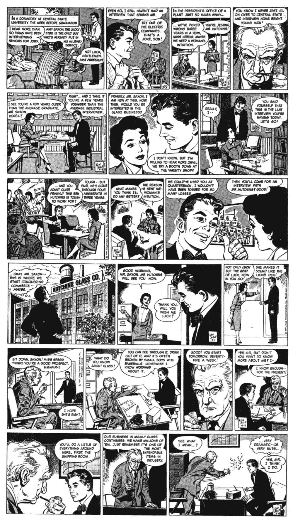 The first week of Judd Saxon strips, with art from Ken Bald.