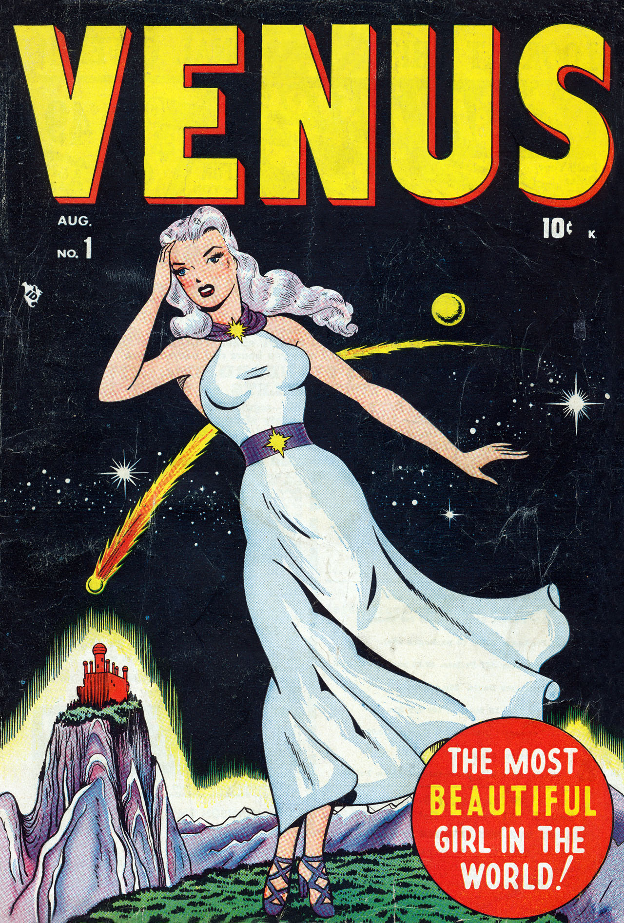 Venus (1948) #1, cover penciled by Ken Bald & inked by Lin Streeter.